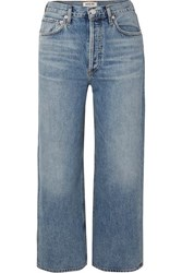 Agolde Ren Cropped High Rise Wide Leg Jeans Mid Denim