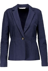 Diane Von Furstenberg Gavyn Textured Stretch Cotton Blazer Midnight Blue