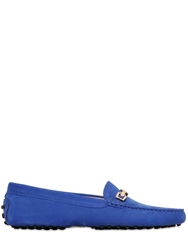 Tod's Gommino Hook Nubuck Driving Shoes Royal Blue