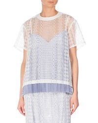Sacai Short Sleeve Cable Lace Top White