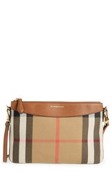 Burberry 'Peyton House Check' Crossbody Bag Beige Tan Gld Hrdwre
