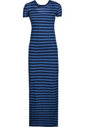 Enza Costa Striped Pima Cotton Maxi Dress Blue