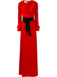 Gucci Pleated Ruffle Gown Red