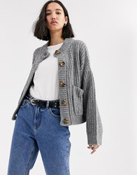 Native Youth Cardigan In Chunky Knit Grey