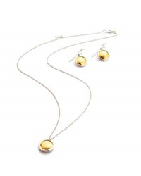 Gurhan Amulet Round Pendant Necklace And Drop Earrings Set Gold