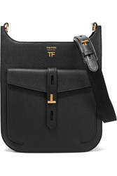 Tom Ford T Twist Textured Leather Shoulder Bag Black