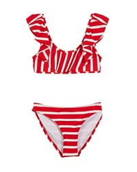 Milly Minis Striped Ruffle Pinafore Two Piece Swimsuit Red