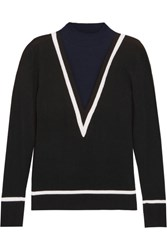 Victor Glemaud Color Block Cotton And Cashmere Blend Turtleneck Sweater Navy
