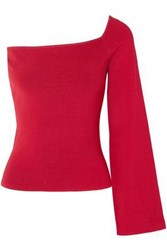 Solace London Woman The Renata One Shoulder Stretch Knit Top Red