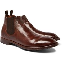 Officine Creative Princeton Burnished Leather Chelsea Boots Brown