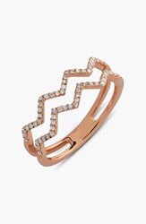 Women's Bony Levy 'Prism' 2 Row Diamond Ring Rose Gold Limited Edition Nordstrom Exclusive