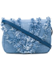 Elena Ghisellini Distressed Trim Flap Handbag Blue