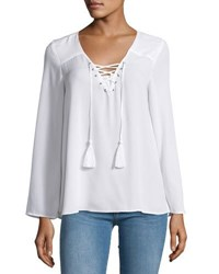 Neiman Marcus V Neck Lace Up Relaxed Blouse Black