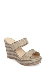 Jimmy Choo Women's Parker Wedge Sandal Natural Glitter