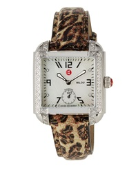 Michele Milou Diamond Watch W Leather Strap Cheetah Print