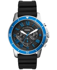 Fossil Men's Chronograph Grant Sport Black Silicone Strap Watch 44Mm Fs5300