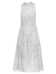 Zimmermann Epoque Broderie Anglaise High Neck Dress Light Blue