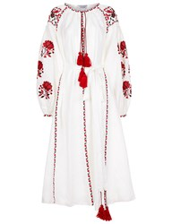 Fanm Mon White Linen Floral Embroidered Midi Dress