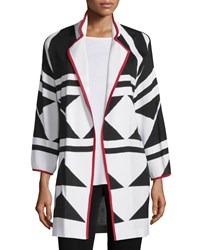 Misook Long Graphic Jacket With Piping Tricolor Women's Black White Red