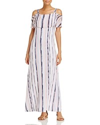 Design History Cold Shoulder Volant Maxi Dress Placid Blue