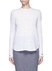 Helmut Lang 'Detached Cuff' Cotton Cashmere T Shirt White