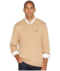 Nautica 12 Gauge Jersey V Neck Sweater Camel Heather Neutral