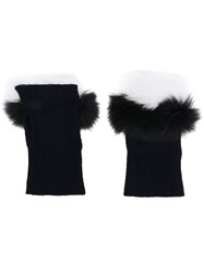 N.Peal Fur Trim Fingerless Gloves Blue