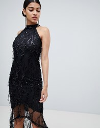 Ax Paris Racer Neck Midi Dress With Fringed Sequin Detail Black