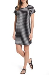 Bobeau Women's Back Cutout T Shirt Dress Black W White Stripe