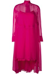 Cedric Charlier Elongated Back Sheer Dress Pink Purple