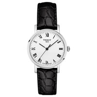 Tissot T1092101603300 Women's Everytime Leather Strap Watch Black White