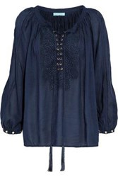 Melissa Odabash Woman Lace Up Embroidered Voile Blouse Navy