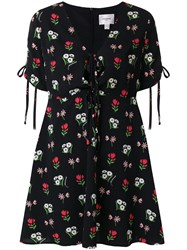 Jovonna Floral Tied Neck Dress Black
