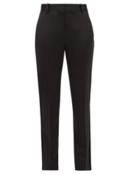 Bella Freud Rocker Tapered Wool Blend Tuxedo Trousers Black