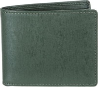 Barneys New York Saffiano Leather Coin Pocket Billfold Green