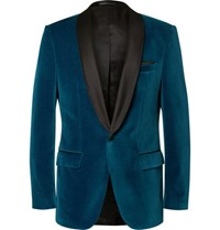 Hugo Boss Blue Hockley Slim Fit Satin Trimmed Velvet Tuxedo Jacket Blue