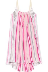 Lemlem Aden Striped Cotton Blend Gauze Mini Dress Pink