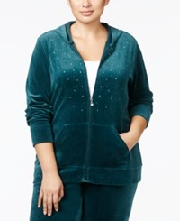 Karen Scott Plus Size Embellished Velour Hoodie Only At Macy's Evergreen