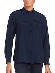 French Connection Pippa Plains Long Sleeve Button Down Shirt Nocturnal