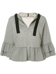 Red Valentino Ruffled Sweatshirt Grey