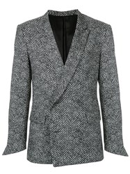 Ex Infinitas Double Breasted Blazer Cotton Polyester Spandex Elastane Viscose Grey