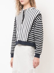 Jonathan Simkhai Oversized Striped Hoodie White