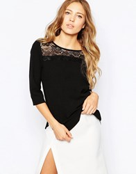 Ichi 3 4 Sleeve Top With Lace Detail Black