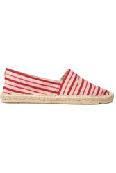 Tory Burch Striped Neon Canvas Espadrilles Orange
