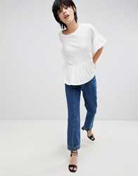 Paisie Jersey Top With Ruffled Sleeves And Hem White