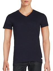 Superdry Lite Loomed Cut Curl Vee T Shirt Truest Navy