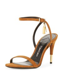 Tom Ford Suede 85Mm Ankle Lock Sandal Biscuit