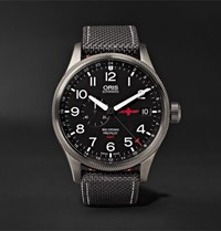 Oris Gmt Rega Limited Edition Automatic 45Mm Stainless Steel And Canvas Watch Black