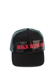 Raf Simons Cotton Baseball Hat W Walk With Me Tape Black Petrol