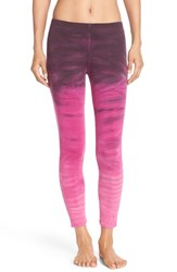 Women's Hard Tail Tie Dye Crop Leggings Hot Pink Purple